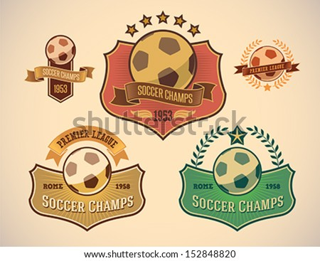 Set  of vintage-styled soccer championship labels including an image of a ball. Editable vector. - stock vector