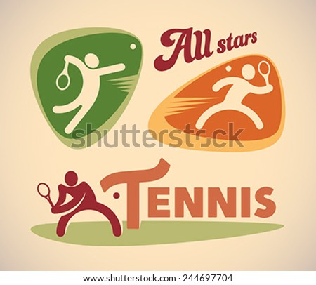 Set of vintage styled tennis labels. Editable vector illustration. - stock vector