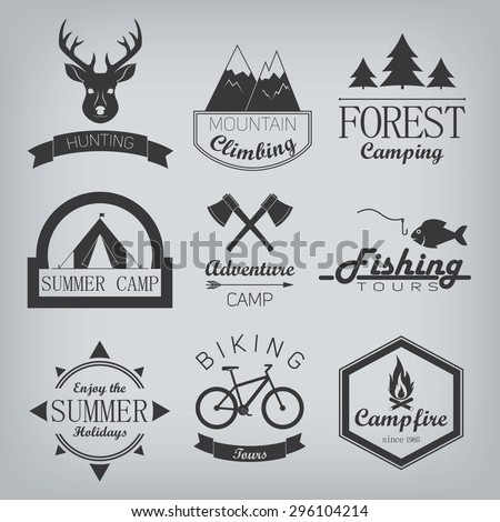 Set of vintage summer camp badges  - stock vector