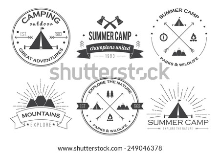 Set of vintage summer camp badges and other outdoor logo's, emblems and labels. EPS 10. - stock vector