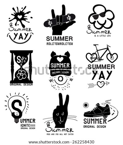 Set of vintage summer labels, logo and designed elements.Isolated monochrome images are drawn by hand. - stock vector