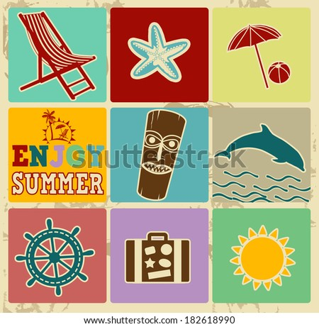 Set of Vintage Summer Labels - Retro Signs on vintage poster, illustration vector