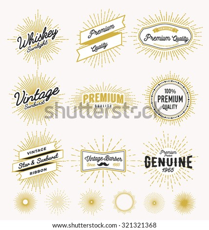 Set of vintage sunburst frame and label design. Vintage light ray sticker and banner collection for premium quality product, handcrafted product. Vector illustration - stock vector