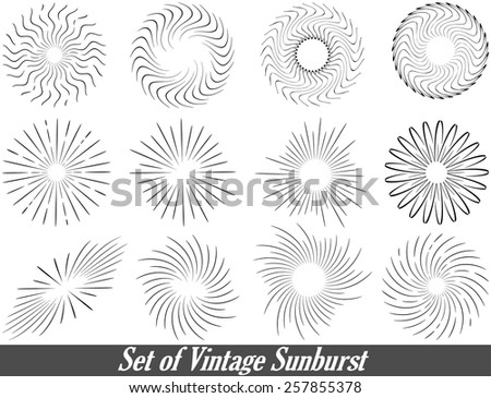 Set of Vintage Sunburst. Geometric Shapes and Light Ray Collection. Hipster Style Frames.Monochrome stars burst with ray. - stock vector