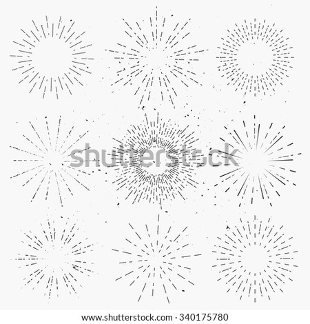 Set Of Vintage Sunbursts Or Retro Light Rays. Template for Your Art or Business Works. - stock vector