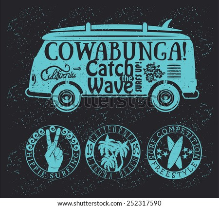 Set of Vintage Surfing Graphics and Emblems - stock vector