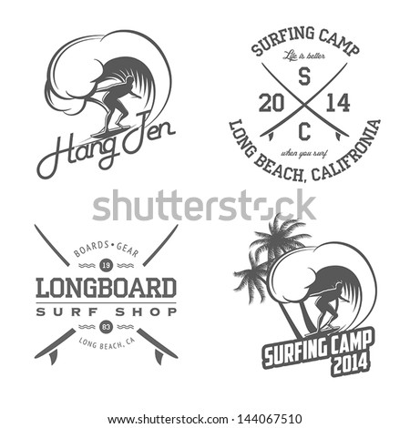 Set of vintage surfing labels and badges - stock vector