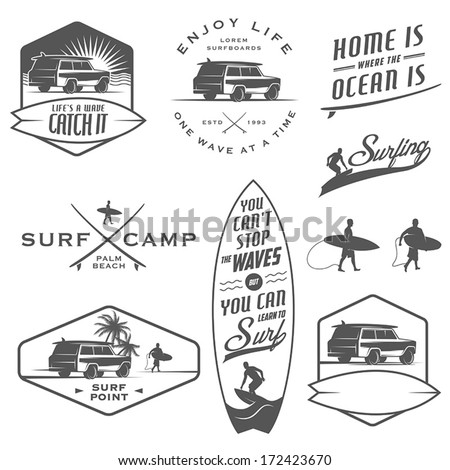 Set of vintage surfing labels, badges and design elements - stock vector