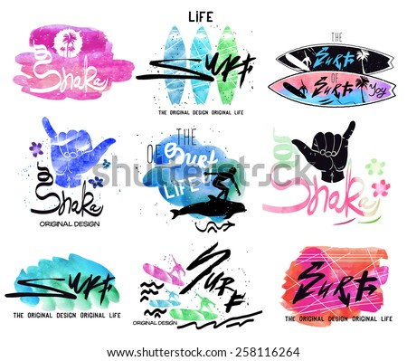 Set of vintage surfing. Retro labels, logo badges and design elements - stock vector