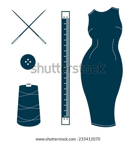 Set of vintage tailor design elements. Bespoke dress, ruler, needles, button, spool of thread. Design template for label, banner, badge, logo. Vector. - stock vector