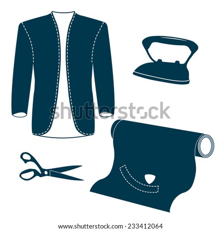 Set of vintage tailor design elements. Bespoke gentleman's jacket, roll of cloth, iron, scissors, tailor chalk. Design template for label, banner, badge, logo. Vector. - stock vector