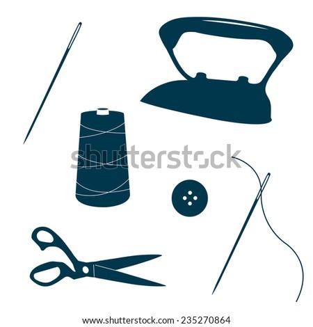 Set of vintage tailor design elements. Iron, needles, scissors, button, spool of thread. Design template for label, banner, badge, logo. Vector. - stock vector