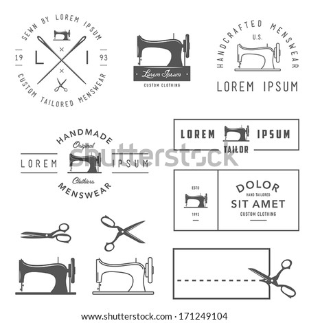 Set of vintage tailor labels, badges and design elements - stock vector