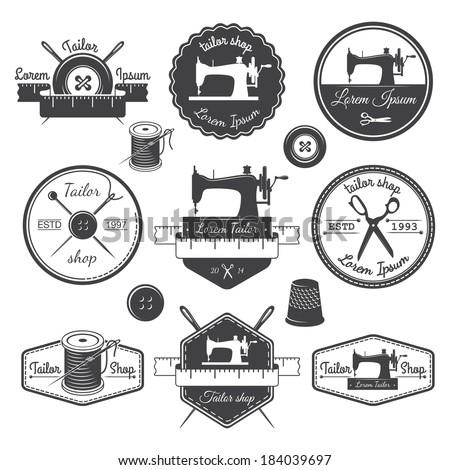 Set of vintage tailor labels, emblems and designed elements. Tailor shop theme