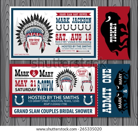Set of vintage tickets. Birthday party and Wedding party. - stock vector