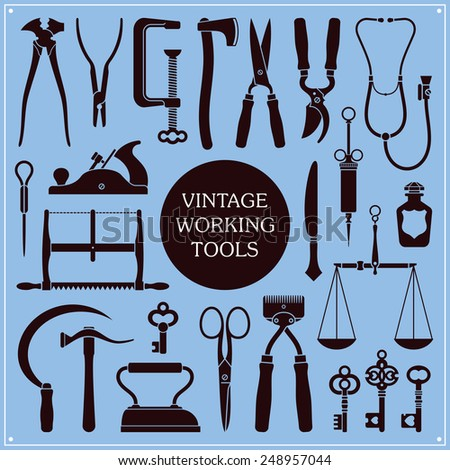 Set of vintage tools, instruments and equipment vector - stock vector