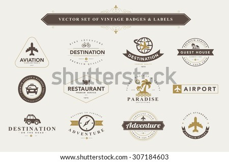 Set of vintage travel badges and labels