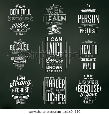 Set Of Vintage Typographic Backgrounds / Motivational Quotes / Retro Colors With Calligraphic Elements - stock vector