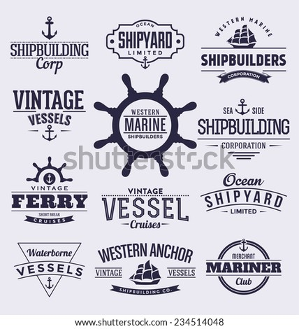 Set Of Vintage Typographic Nautical Badges And Labels - stock vector