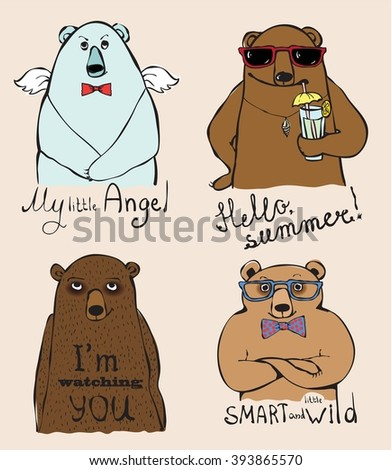 Set of 4 Vintage typography poster with super stylish bears. Trendy hipster style greeting card design, t-shirt print, inspiration poster. Lettering quote. Hello summer, I'm watching you, be wild. - stock vector