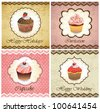 Set of vintage various cupcake cards template - stock vector