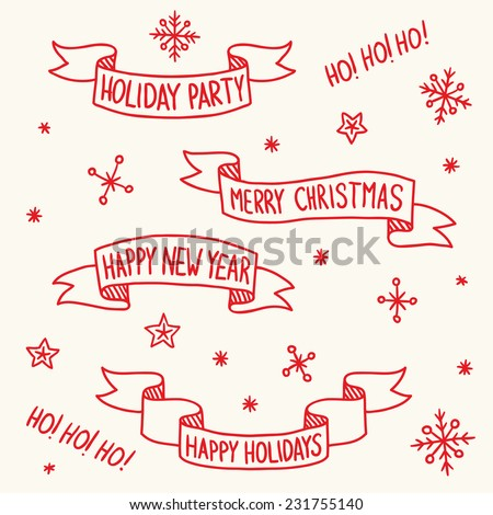 Set of vintage vector Christmas ribbons with snowflakes on background - stock vector