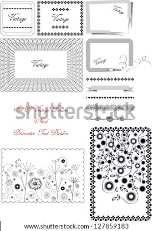 set of vintage vector frames and text dividers