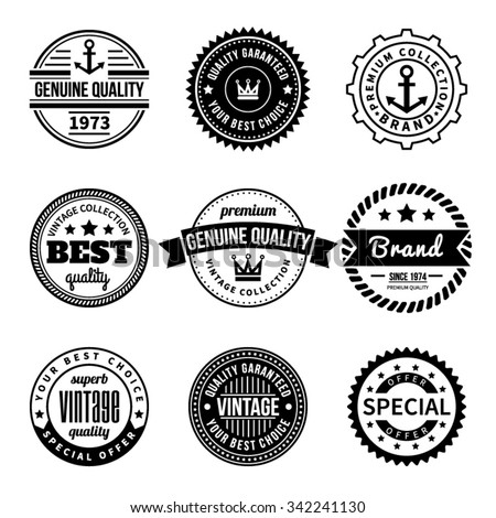 Set of Vintage Vector Labels and Badges. Hipster style with anchor, crown, star, rope, ribbon. Design element, business sign, logo, identity, insignia. Vector illustration. - stock vector