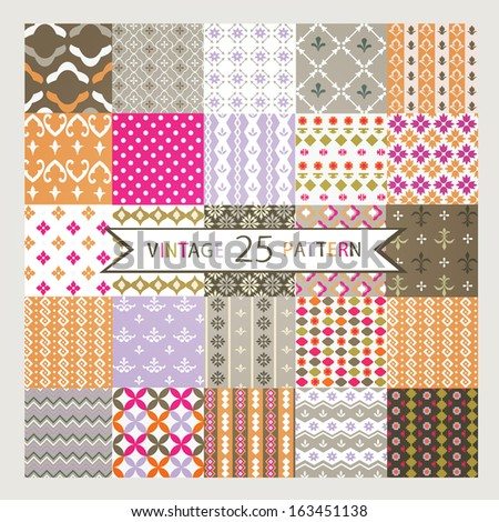 Set of 25 Vintage vector seamless patterns - stock vector