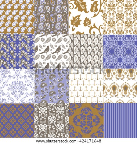 Set of Vintage vector seamless patterns