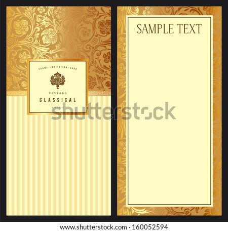 Set of vintage vector vertical invitation with gold baroque pattern. Stylized flowers and leaves on a beige background. - stock vector