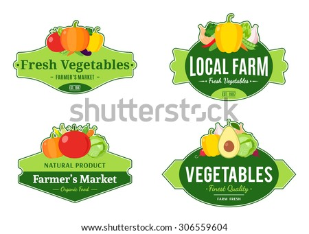 Set of vintage vegetables labels, logos and design templates for farmer's stores and products - stock vector