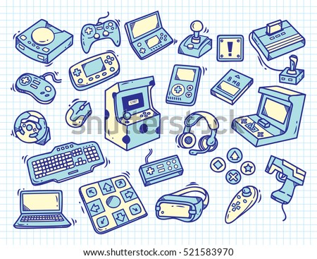 Set of vintage video game doodle on paper background