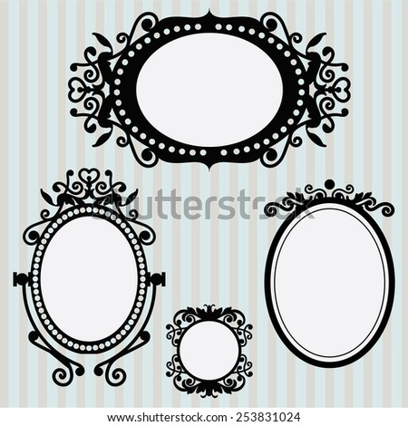 Set of vintage vignette frames on cool wallpaper. Vector illustration. - stock vector