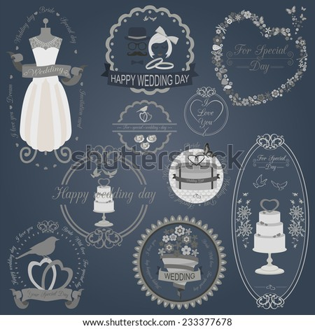 Set of vintage wedding and wedding fashion style logos. Vector logo templates and badges  - stock vector