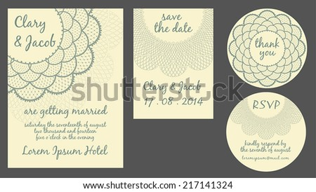 Set of vintage wedding cards - invitation, thank you, save the date and RSVP card