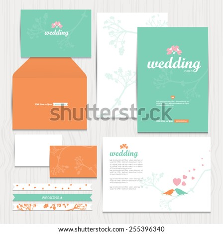 Set of vintage wedding cards invitations vector - stock vector