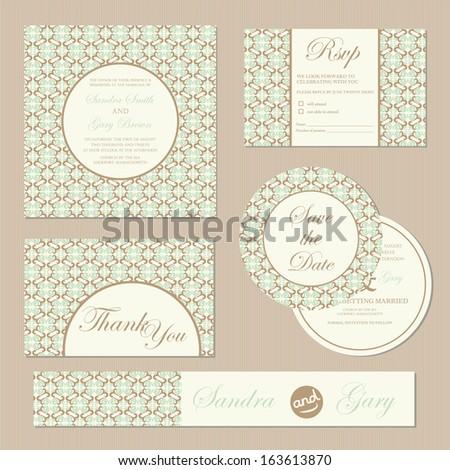 Set of vintage wedding invitation cards. Vector illustration - stock vector