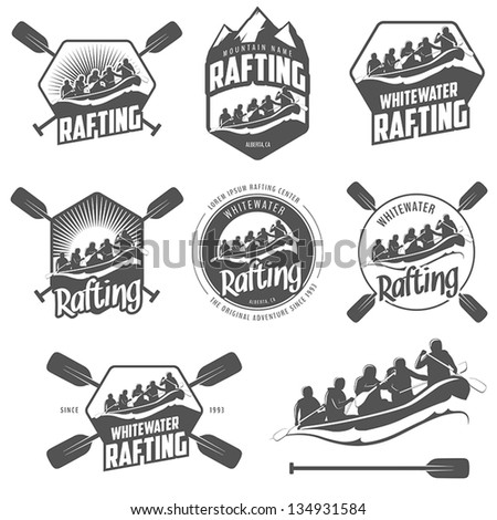 Set of vintage whitewater rafting logo, labels and badges - stock vector