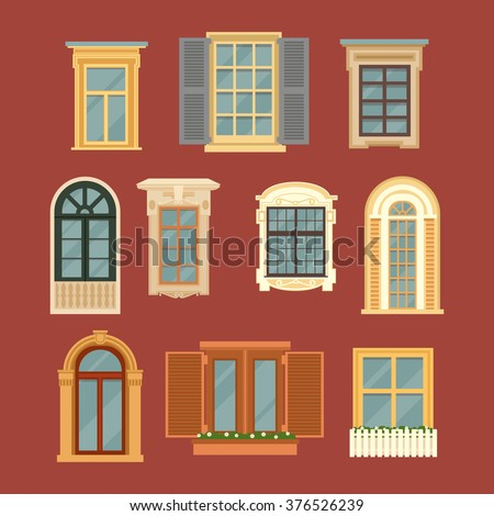 Window Style set vintage windows vector illustration flat stock vector