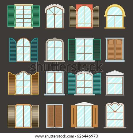 Set Vintage Wood Wooden Window Frames Vector de stock626446973 ...