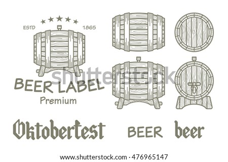 Set of vintage wooden barrels in different foreshortening. Monochrome style. Isolated on white back ground vector art
