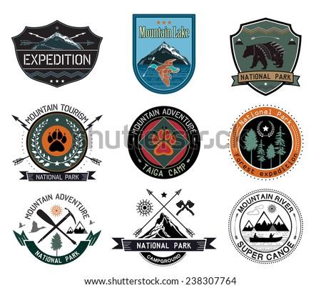 Set of vintage woods camp badges and travel logo, emblem, design elements. - stock vector