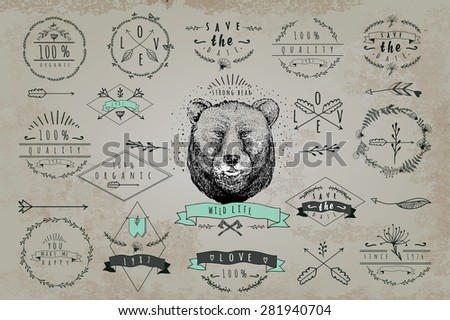 Set of vintageframes and labels with bear. Font design elements and page decoration Label collection with vintage engraving flowers. Hipster design of diffrent phrases like save hte date, 100% organic - stock vector