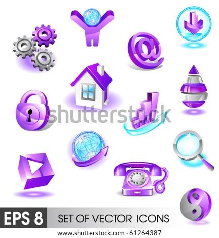 Set of violet web icons. Vector - stock vector