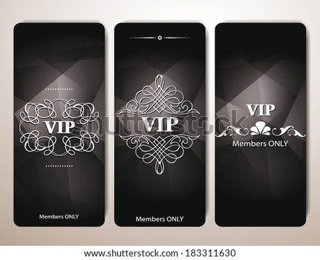 Set of VIP cards with floral design elements - stock vector