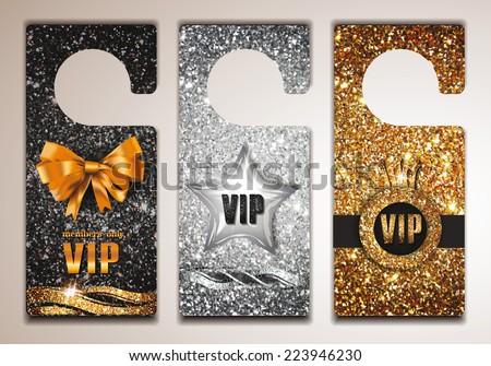 Set of VIP door tags - stock vector