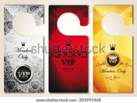 Set of  VIP door tags with floral design elements - stock vector