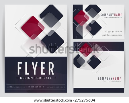 Set of visual corporate identity templates. Flyer, business card and a square banner with abstract geometric decoration. Branding stationery design. Vector illustration.  - stock vector