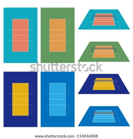 Set of Volleyball Courts in Different Colours - stock vector
